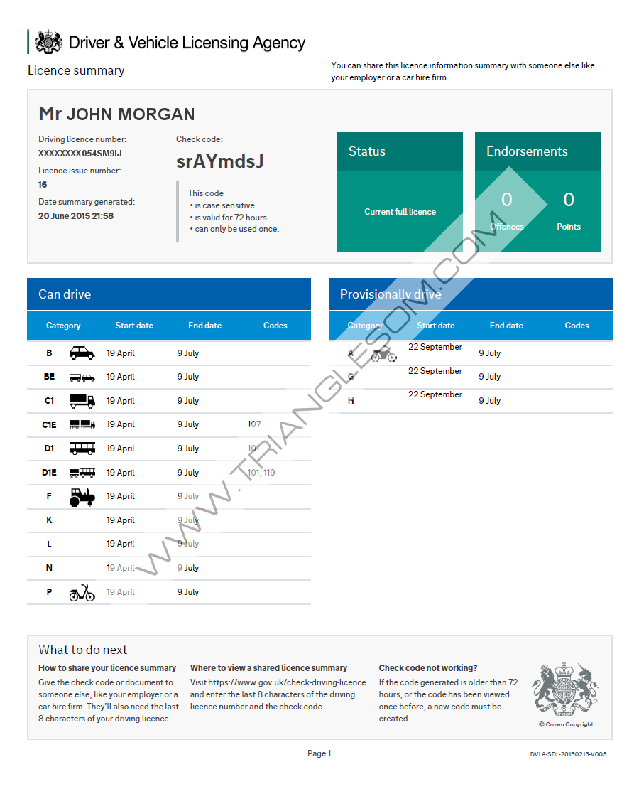 View and share your driving licence information